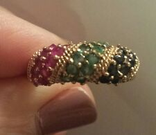 14K Yellow Gold Sapphire, Emerald, and Ruby Band Ring, Sizeable 7.5, CLASSIC