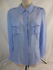 White House Black Market WHBM Womens 10 100% Silk Blue Button Blouse Shirt CB14P