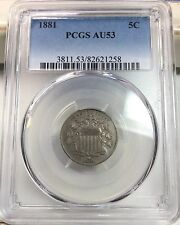 1881 5C Shield Nickel PCGS AU 53 Rare Key Date Great Coin 68,000 LOW MINTAGE!