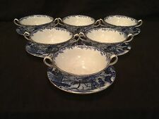 ROYAL CROWN DERBY BLUE MIKADO SET OF 6 CREAM  BOULLION SOUP BOWLS