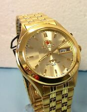 Orient Men's Watch 9 facet cut glass Automatic  Gold Dial Gold Tone  Orient box