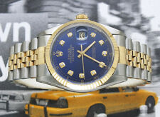 Gents Blue Diamond Dial Steel & 18ct Yellow Gold Rolex Oyster Perpetual Datejust