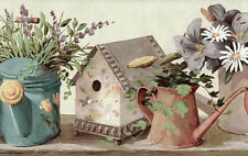 Wallpaper Border Birdhouses Daisies Watering Cans Cream Multi-Color York FS4817B