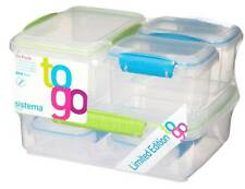 Sistema Klip It Set of 6Plastic Food Storage Containers Box Green & Blue Clips