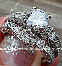 Sterling Silver Vintage Estate style Round cut Engagement Ring 2pc Wedding Set 8