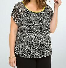 Torrid Geo Print Cross Back Top Black Yellow 00 Med Large 10 #9083