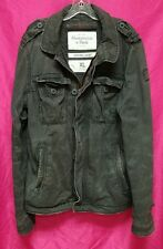 Abercrombie & Fitch Mens Sentinel Navy Blue Twill Military Jacket Coat ~ XL