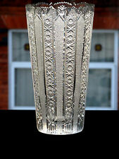 ANTIQUE AMERICAN BRILLIANT PERIOD CUT GLASS CRYSTAL VASE HEAVY DECORATED PATTERN