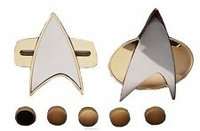 Star Trek Next Generation & Voyager MAGNETIC COMMUNICATOR Pin & RANK Pip Set