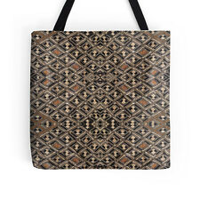 "EXCLUSIVE AFRICAN KUBA CLOTH DESIGN #2 TOTE BAG 16"" ~ Stunning Unique"
