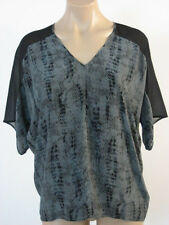 EILEEN FISHER Silk Printed Lace V Neck Charcoal Slouchy Top Blouse XS NWT $258