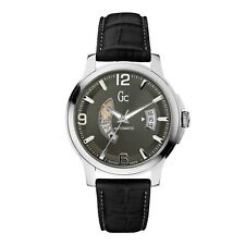 Guess Collection Men's Automatic Black Leather Silver Steel Watch X84003G5S NEW