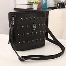 Women Lady Punk Skull Clutch Long Zipper Purse Leather Wallet Card Holder Black