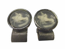 """Vintage Galloping Horses Wedgwood Style Wrap Around Cufflinks 1"""" 6M 6S"""