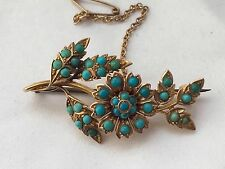 stunning 15k victorian tutquoise paving flower gold brooch W/ Safety Chain-7.6g