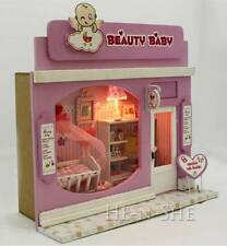DIY Wooden Dollhouse Miniature with Light Baby Wear Store Beauty Baby C003