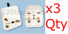 3PK 2 Round Pin Asian Euro Plug Adapter with Universal Output Socket