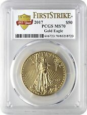 2017 $50 Gold Eagle PCGS MS70 First Strike - US Mint 225 Years Label