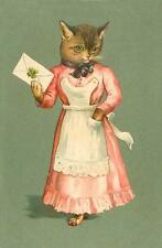CAT, CHAT, KATZE, VICTORIAN MAID WITH LETTER,FROM VINTAGE POSTCARD, MAGNET