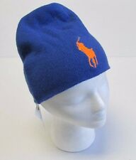 NWT Polo Ralph Lauren  Beanie Skull Merino Wool Winter Ski Hat Blue ONE SIZE