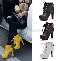 Ladies Lace Up Buckle Strap Platform High Heel Ankle Boots Shoes Plus Size 3872