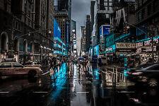 """A071 Calle de la ciudad de la vida nocturna de Nueva York Cityscape pared arte grande Lona pic 20 """"x30"""""""