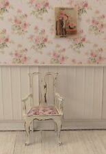 Dollhouse Miniature Shabby Chic Arm Chair with Pink Mauve Floral Print Fabric