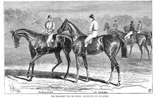 Carreras de caballos Harvester & St Gatien Dead Heat en el Derby-Antiguo impresión 1884