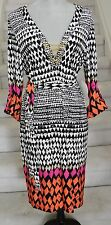 Multi-Color Belted 3/4 Sleeves Knee-Length EMMA MICHELE Tunic Dress, Size  L