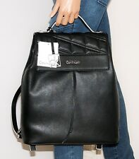 NWT Calvin Klein Kora Black PVC Leather Quilted Backpack Book Bag Drawstring