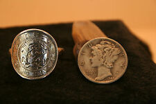 "AUTHENTIC 1920'S JAPAN 10 SEN SILVER DRAGON""  COIN RING W/ .925 BAND SZ 8  .."