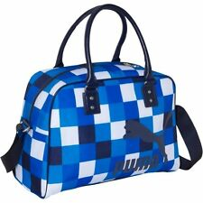 Puma Heritage Grip Bag Purse Checkered Bags, Blue and White