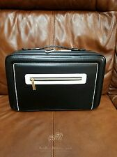 NEW Estee Lauder Large Black & Cream Lined Train /Make Up/Travel/ NoteBook Case