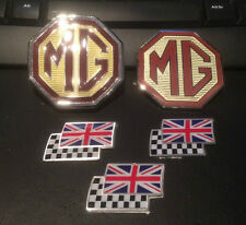 Mg ZS tratteggio BADGE Set Griglia Anteriore, Posteriore & 3 CHEQUERRED e UNION JACK FLAG