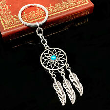 Large Silver Tone Metal Dreamcatcher Keyring Keychain Blue Turquoise Stone Bead