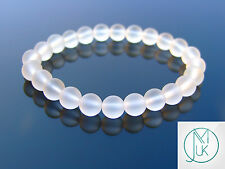 Frosted Rock Crystal Natural Gemstone Bracelet Beaded 7-8'' Elasticated Healing