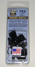 """Kadee O scale  #743 ~ """"Prototype Head - E Type""""  Short Metal Couplers - 2 Pair"""