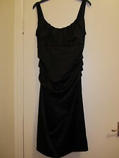 ladies formal knee lenght black satin dress    size 10 in perfect condition