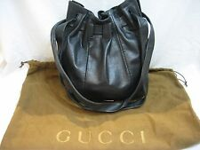 Authentic Vintage Gucci Black Snakeskin Drawstring Bucket Shoulder Bag
