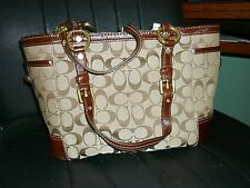 NWT Coach Gallery Signature Tote Purse 11658 Khaki/Chocolate