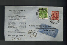 1934 1969 England National Air Race Cover to Melbourne Australia Pilot Signed