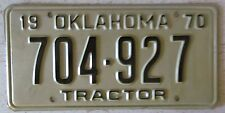 Oklahoma 1970 TRACTOR License Plate HIGH QUALITY # 704-927
