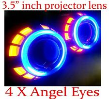 "3.5"" inch H1 H7 H4 Bi Xenon Headlight Bulb HID Projector Lens Angel Eye Halo Kit"