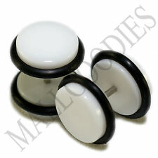 "2005 White Fake Cheater Illusion Faux Ear Plugs 16G Bar 7/16"" = 11mm BIG! 2pcs"