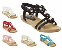 Ladies Flower Detailed Flat Comfort Sandals Size 3 to 8 UK CASUAL EVENING - S017