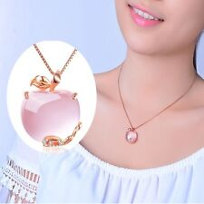 Women Crystal Charming Fashion Apple Shaped Rose Gold Plated Pendant Necklace