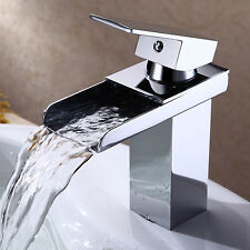 "7"" Chrome Brushed Waterfall Bathroom Faucet Brass Basin Sink Mixer Tap Single"