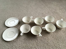 TEXASWARE MELMAC 7 COFFEE CUPS MUGS & 2 CUP SAUCERS WHITE set hard plastic