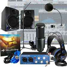 Presonus AudioBox USB + M-Audio AV30 + AT Mic Home Recording Package Studio Kit