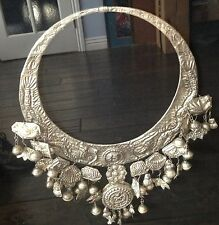 Chinese Miao Silver Handmade Huge Necklace Framed To Display 28""